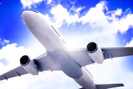 airplane take off: Airplane Plane Flying Aircraft Transportation Travel Stock Photo