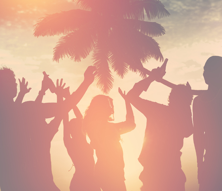 people partying: Silhouettes of Diverse Multiethnic People Partying Concept Stock Photo