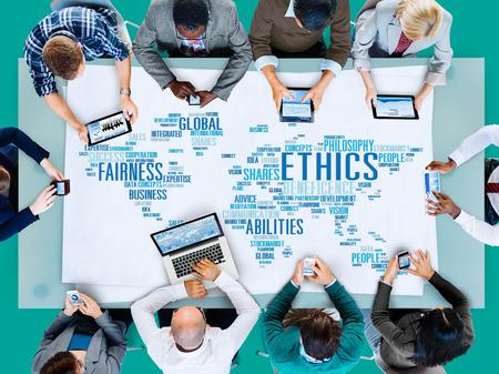 negócio: Ideais Ética Princípios Morais Standards Concept