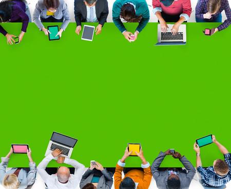 casual business team: Digital Device Online Internet Wireless Technology Communication Concept