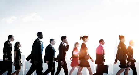 hurrying: Business People Corporate Walking City Concept