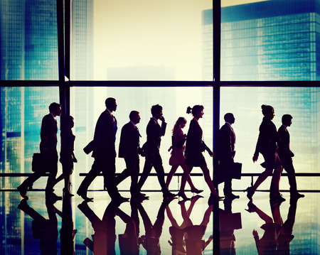 african business man: Silhouette Group of People Walking Concept Stock Photo