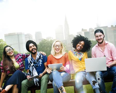 Jeunesse Amis Amitié Ensemble Technologie Concept