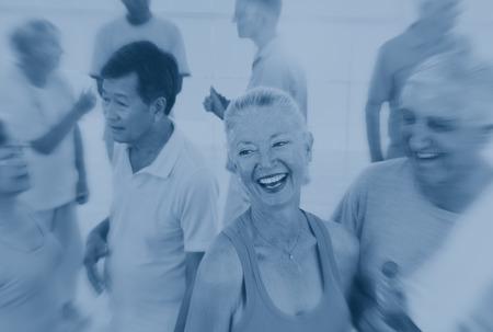 liesure: Fitness Senior Adult Healthcare Friendship Concept