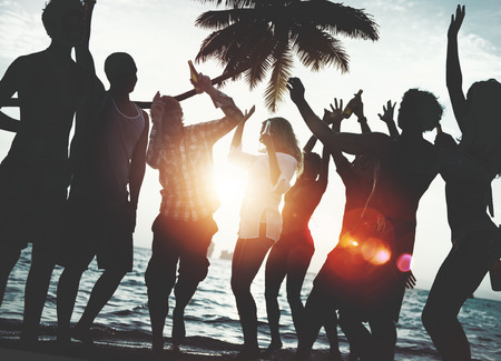 party silhouettes: Beach Summer Party Enjoyment Happiness Youth Culture Concept