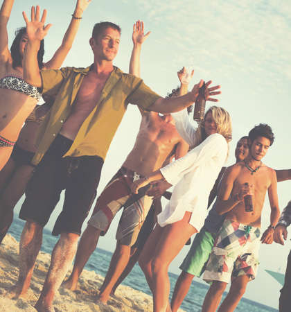 beach party: Friends Beach Party Dancing Cheerful Concept Stock Photo