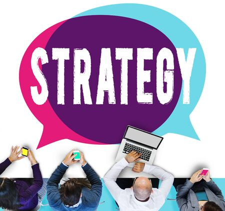 planning process: Strategy Business Planning Process Solution Concept Stock Photo