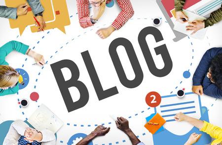 ブログ ブログ メディア ソーシャル メディア コンセプトをメッセージング 写真素材