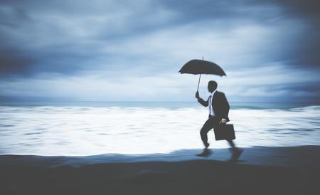 pressured: Worried Businessman Running Stress Pressured Lost Concept Stock Photo