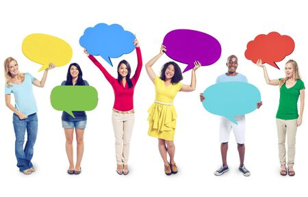 mixed race woman: Multi-Ethnic Group of People with Speech Bubbles Stock Photo