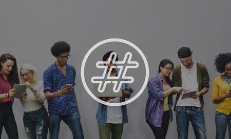 post: Hashtag Icon Social Media Blog Post Concept