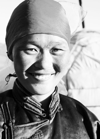independent mongolia: Mongolian Woman Traditional Dress Tranquil Solitude Concept