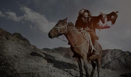 mongolia horse: Mongolian Man Trained Eagle Kazakh Olgei Western Concept