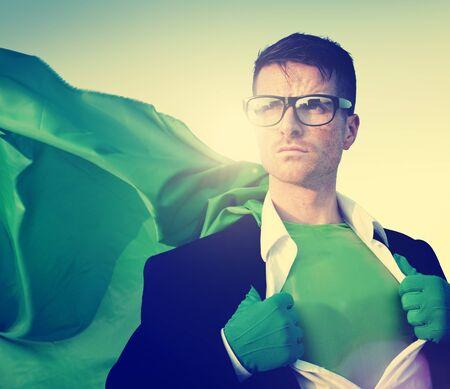changing form: Superhero Businessman New York Concept