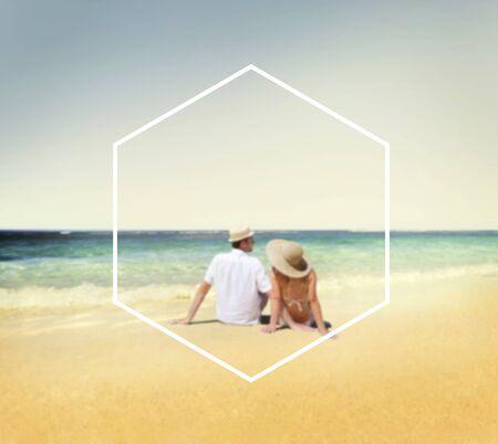couple  amoureux: Cadre Hexagone vacances Summer Vacation Espace texte Concept