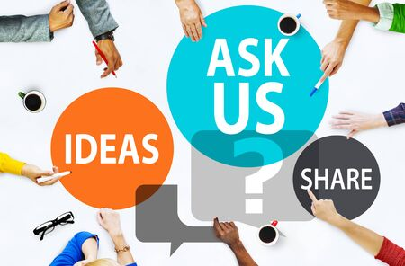sharing: Ask us Customer Service Guidance Ideas Share Concept