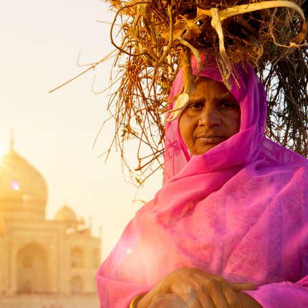 wonder woman: Woman Taj Mahal Seven Wonder Famous Place Concept