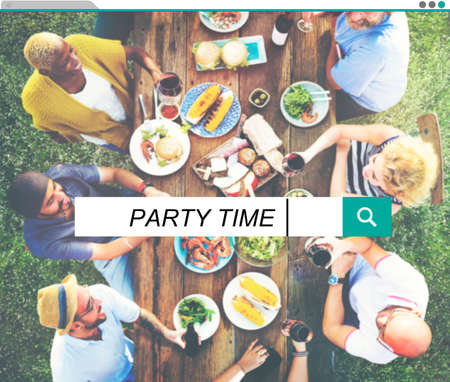 party time: Party Time Beach Enjoyment Summer Holiday Concept Stock Photo