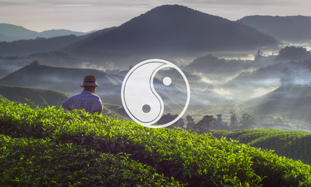 asian farmer: Yin Yang Balance Contrast Opposite Religion Culture Concept Stock Photo