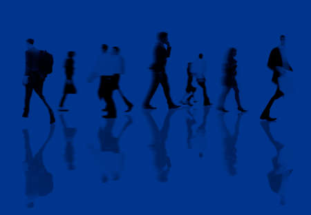 commuting: Business People Rush Hour Walking Commuting Concept Stock Photo