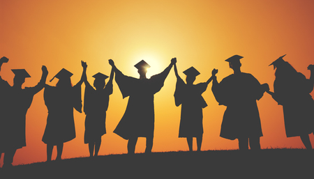 mortar cap: Group Students Hands Raised Graduation Silhouette Concept Stock Photo