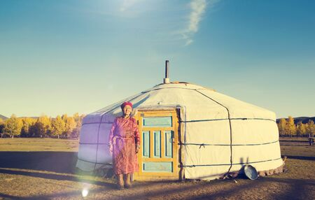 southeast asian ethnicity: Mongolian Lady Standing Tent Scenic View Tranquil Concept