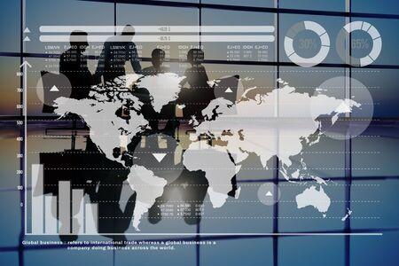 finance concept: Global Business Graph Growth Finance Stock Market Concept