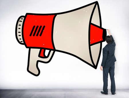 loudhailer: Announcement Megaphone Proclaim Message Illustration Concept