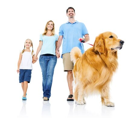 family isolated: Family Petting Dog Bonding Togetherness Concept Stock Photo