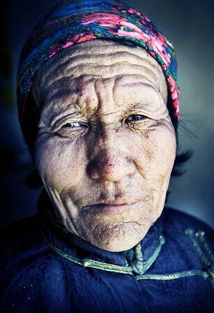 mongolian: Mongolian Woman Traditional Dress Tranquil Solitude Concept