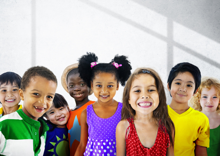 happy group: Diversity Children Friendship Innocence Smiling Concept Stock Photo
