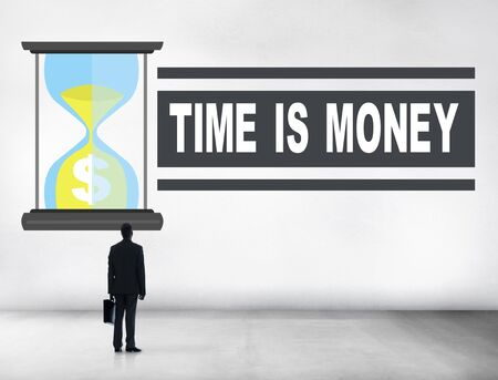 time is money: Time Money Sand Glass Businessman Alone Concept