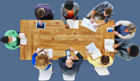 working team: Business People Working Office Meeting Concept Stock Photo