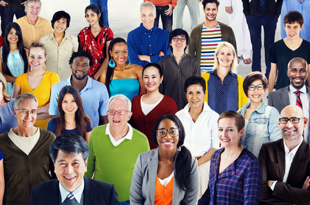 diverse people: Large Group of Diverse Multiethnic Cheerful People Concept