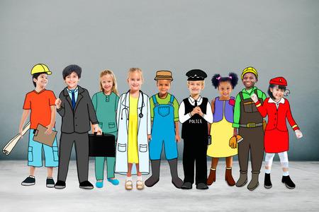 jobs: Children Kids Dream Jobs Diversity Occupations Concept Stock Photo