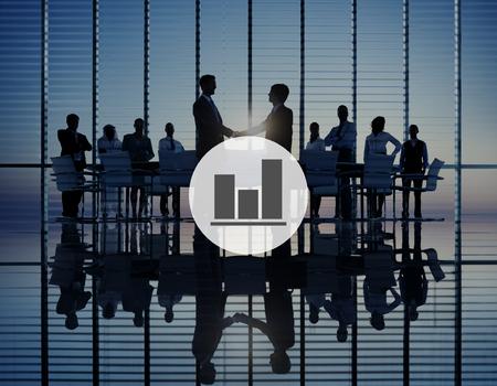 increase success: Business Bar Graph Progress Report Concept
