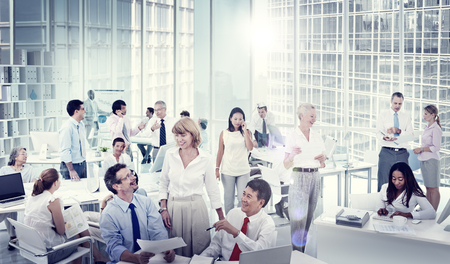 BUSY OFFICE: Group of Business People Meeting Office Workshop Concept Stock Photo