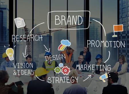 商標のデザイン コンセプトをブランディング ブランド マーケティング広告 写真素材