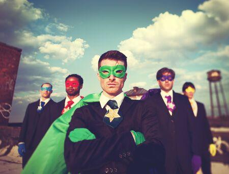 confidence: Businessmen Superhero Team Confidence Concept