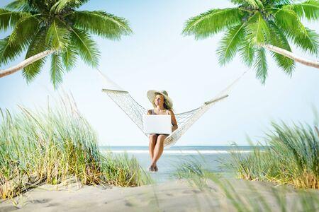 enjoyment: Woman Relaxation Beach Working Enjoyment Concept