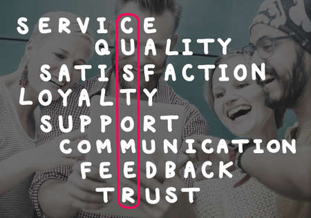 to trust: Customer Target Market Puzzle Crossword Concept Stock Photo