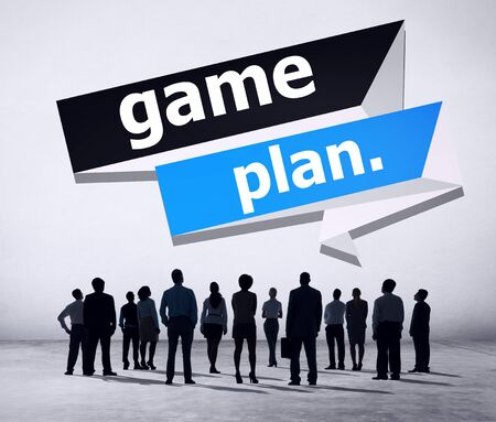 game plan: Game Plan Planning Strategy Direction Goal Solution Concept Stock Photo