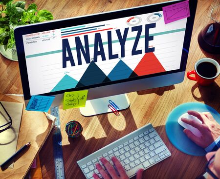 strategize: Analyze Data Analysis Strategize Information Concept Stock Photo