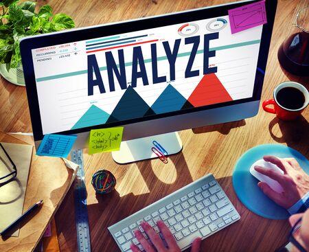 strategize: Analyze Data Analysis Strategize Information Concept Stock Photo