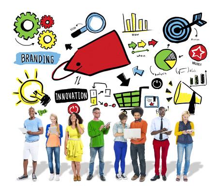 branding: Diversity Casual People Branding Marketing Digital Communication Concept