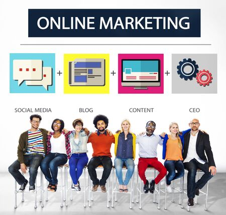 marketing online: Online Marketing Business Content Strategy Target Concept Stock Photo