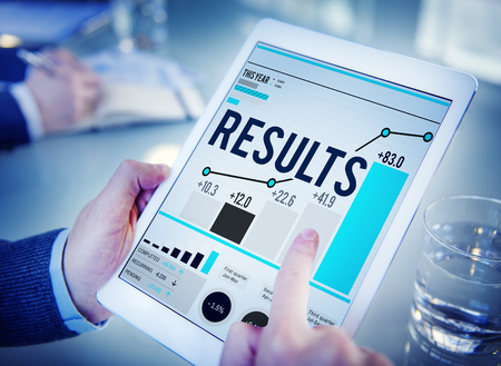 search bar: Results Effect Achievement Assessment Evaluate Concept Stock Photo