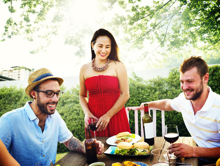 luncheon: Diverse People Luncheon Food Garden Concept Stock Photo