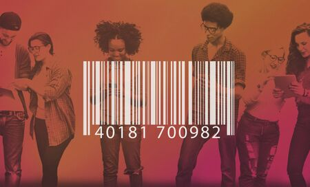 retail shopping: Bar Code Scanning Inventory Logistics Production Concept Stock Photo