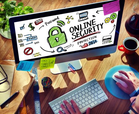 internet safety: Online Security Protection Internet Safety Office Working Concept Stock Photo